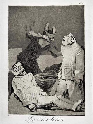 """""""Los chinchillas"""" Grabado 50 de la serie Los Caprichos 1799. Décima edición (1918) Aguafuerte y aguatinta 22 x 15,3 cms. (huella)"""