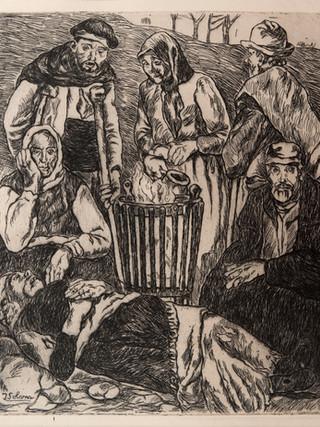 """José Gutiérrez Solana """"Pobres calentándose"""". Circa 1910. Aguafuerte. 26,5x22 cms"""