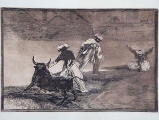 """""""Capean otro encerrado"""". Serie La Tauromaquia. 1815 - 1816. Tirada de 198, Calcografía Nacional.  Aguafuerte. y aguatinta. Huella 24x35 cms."""