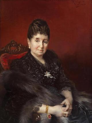 """RICARDO LÓPEZ CABRERA (Cantillana, 1864 – Sevilla 1950) """"Retrato de señora desconocida"""" (1890). Óleo sobre tela, 66x49 cms."""