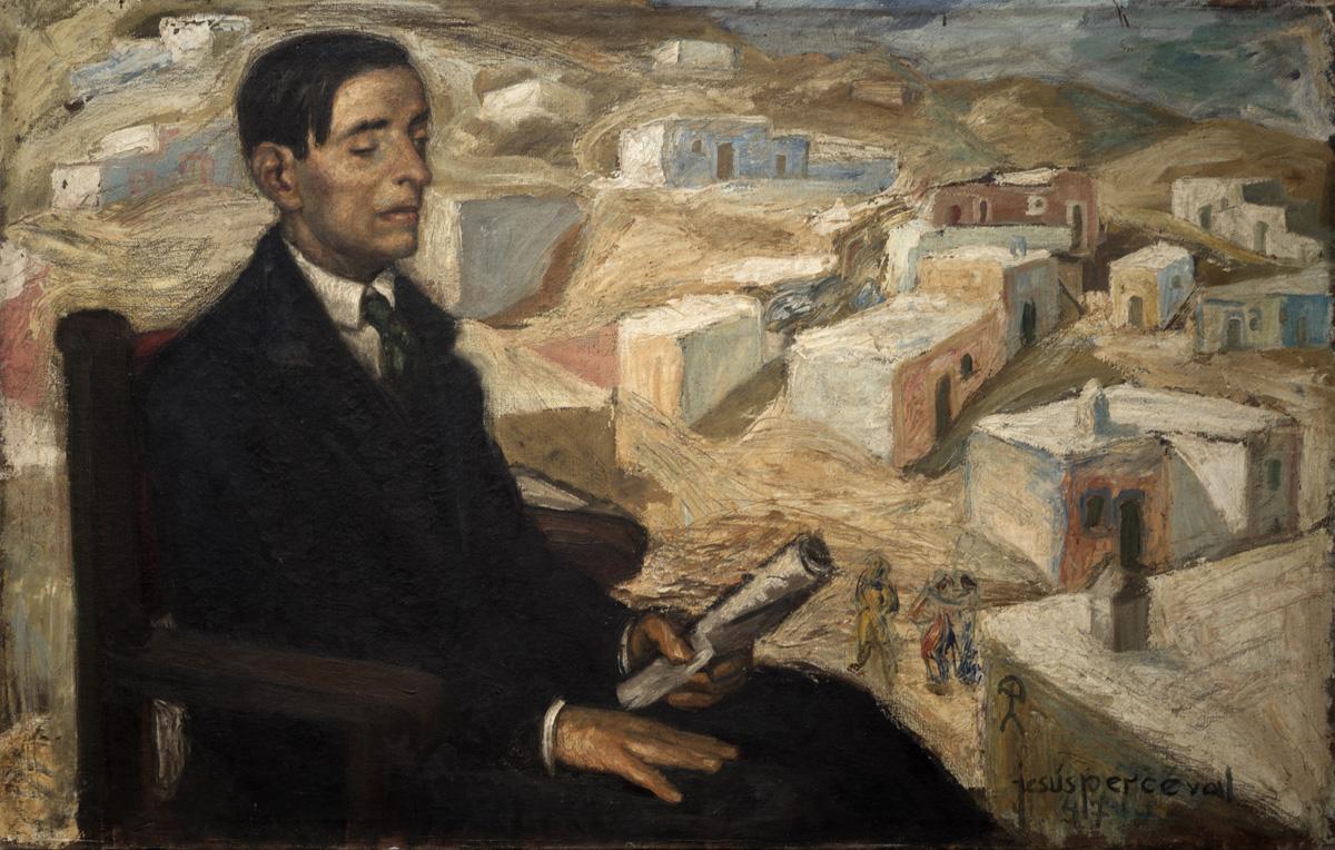 PERCEVAL El poeta almeriense villaespesa 1947 oleo-lienzo