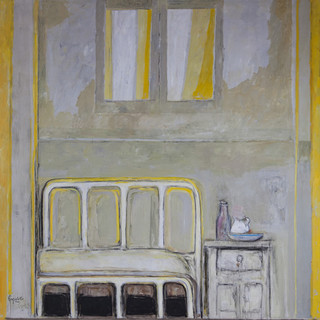 """Cama de hospital en amarillo"" 1983. Óleo sobre lienzo 200x200 cms."