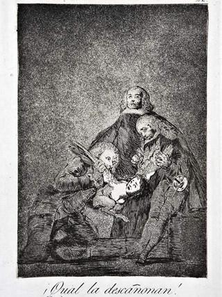 """""""¡Cual la descañonan!"""" Grabado 21 de la serie Los Caprichos 1799. Décima edición (1918) Aguafuerte y aguatinta 22 x 15,3 cms. (huella)"""