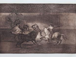 """""""La muerte de Pepe """". Serie La Tauromaquia. 1815 - 1816. Tirada de 1983, Calcografía Nacional.  Aguafuerte. y aguatinta. Huella 24x35 cms."""