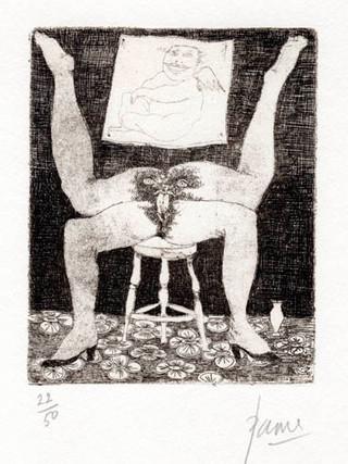 """PETER PAONE (1936) Serie realizada junto a Castellón """"Alfabeto Erótico. Letra H"""" 1969-1971. Aguafuerte y aguatinta 11 x 9 cm (huella)"""