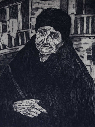 """José Gutiérrez Solana (Madrid, 1886-1945) """"Vieja montañesa"""". 1933 Aguafuerte. 41x33 cms."""