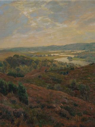 """ANTONIO GOMAR Y GOMAR (Benigánim, 1853 - Maella, 1911). """"Paisaje crepuscular. Hacia 1900. Óleo sobre lienzo. 52x76 cms."""
