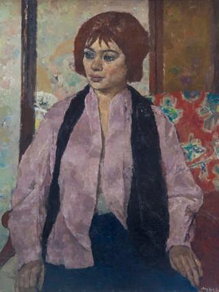 "Josep María Mallol Suazo (Barcelona, 1910 - 1986) ""Figura en un interior"".1966. Oleo sobre lienzo. 81x65 cms."