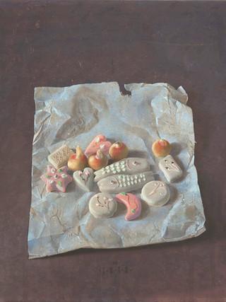"Matias Quetglas (Ciudadela, 1946,) ""Confituras"". 1975 - 1976. Temple al huevo sobre tabla. 53x46 cms."
