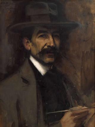 "SEGUNDO MATILLA MARINA (Madrid, 1862 – Teyá, Barcelona, 1937) ""Autorretrato"" (1913). Óleo sobre tabla. 65x40 cms"