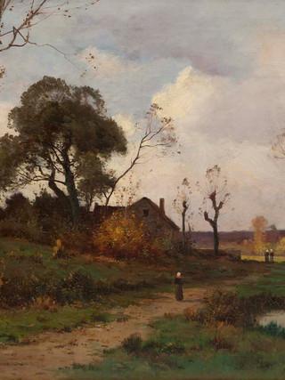 "JOAQUIN VAYREDA VILA (Gerona, 1843 - Olot, 1894) ""Paisaje de los paises bajos"". Hacia 1875. Óleo sobre tela. 60x85 cms."