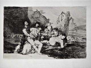 """""""Curarlos, y a otra"""". Grabado 20 de la serie Los desastres de la guerra 1810 - 1815. Primera edición (1863) Aguafuerte. Huella 15x20 cms."""