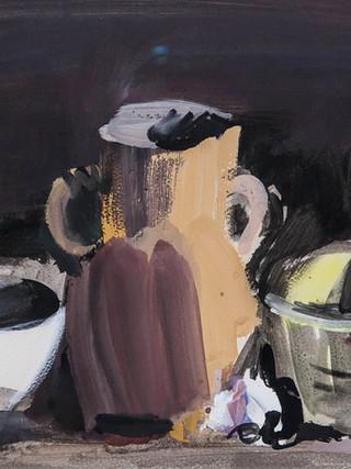 "Carlos Pradal Rodríguez (Madrid 1925, Tolousse 1988) ""Bodegón"" 1979. Gouache sobre papel. 43x61 cms."