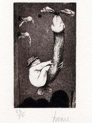 "PETER PAONE (1936) Serie realizada junto a Castellón ""Alfabeto Erótico. Letra J"" 1969-1971. Aguafuerte y aguatinta 12,5 x 7,5 cm (huella)"