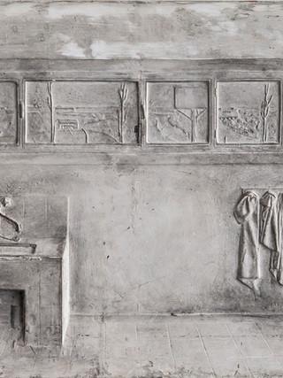"""Francisco López Hernández (Madrid, 1932 - 2017) """"Pila del colegio de Santa María"""". 1967. Escayola. 37x48 cms."""
