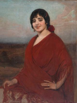 """ANSELMO MIGUEL NIETO (Valladolid, 1881-1964). """"Trinidad Carretero con mantón de Manila"""". 1915. Óleo sobre lienzo. 81x72 cms."""