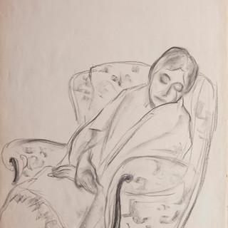 """""""Apunte para retrato de Lucia"""" 1983. Carbón sobre papel 100x70 cms."""