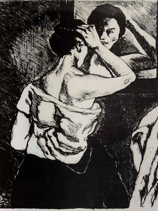 """José Gutiérrez Solana (Madrid, 1886-1945) """"Mujer mirándose al espejo"""". 1920 Litografía 34x32 cms."""