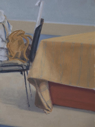 "LUIS PALTRÉ JIMÉNEZ (Cabra, 1958) ""Mesa y silla"". 2014. Óleo sobre tabla. 50x34 cms."