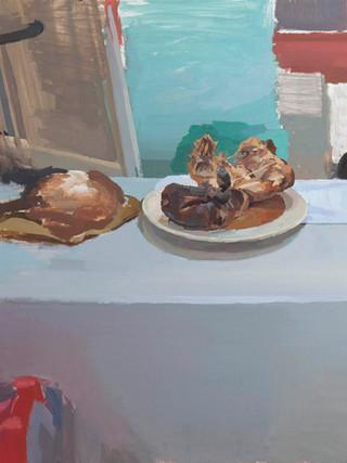 """ANTONIO BARAHONA (Sevilla, 1984) """"Bodegón con pollo asado"""" (2018) Óleo sobre tela, 73x92 cms."""