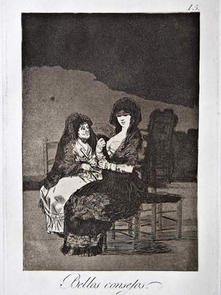 """""""Bellos consejos"""" Grabado 15 de la serie Los Caprichos 1799. Décima edición (1918) Aguafuerte y aguatinta 22 x 15,3 cms. (huella)"""