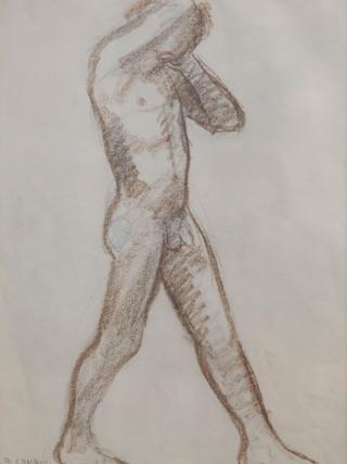 "Antonio Campillo Párraga (Murcia, 1926 – 2009) ""Desnudo masculino de perfil"". 1961. Sanguina sobre papel. 43x31 cms."