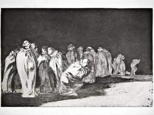 """""""Disparate de entalegados"""". Serie Los Disparates. 1815 - 1823. Primera edición (1864) Aguafuerte. y aguatinta. Huella 21x32 cms."""