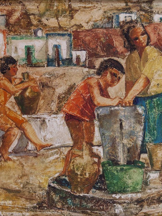 "Carmen Pinteño (Huércal-Overa, 1937) ""Personajes en La Chanca"". Hacia 1971. Óleo sobre tabla, 72x93 cms."