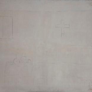 """""""Apunte de hospital"""" 1994. Óleo sobre lienzo 75x100 cms."""