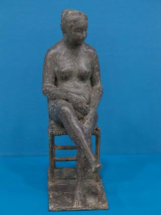 """Antonio Campillo Párraga (Murcia, 1926 – 2009) """"En reposo"""". 1985. Bronce. Altura 36 cms."""