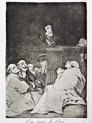 """""""¡Qué pico de oro!"""" Grabado 53 de la serie Los Caprichos 1799. Décima edición (1918) Aguafuerte y aguatinta 22 x 15,3 cms. (huella)"""