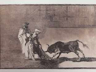 """""""Los moros hacen otro capeo en la plaza con su albornoz """". Serie La Tauromaquia. 1815 - 1816. Tirada de 1983, Calcografía Nacional.  Aguafuerte. y aguatinta. Huella 24x35 cms."""