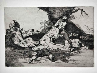 """""""Se aprovechan"""". Grabado 16 de la serie Los desastres de la guerra 1810 - 1815. Primera edición (1863) Aguafuerte. Huella 15x20 cms."""