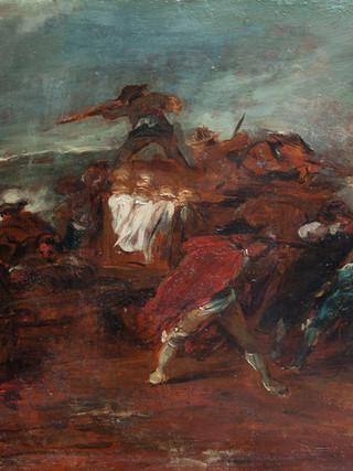 """FRANCISCO GOYA Y LUCIENTES (Atribuido) , (Fuendetodos, 1746 - Burdeos, 1828)""""Escena de la Guerra de la Indepencia """" 1810-1812. Óleo sobre hojalata. 31x42 cms"""