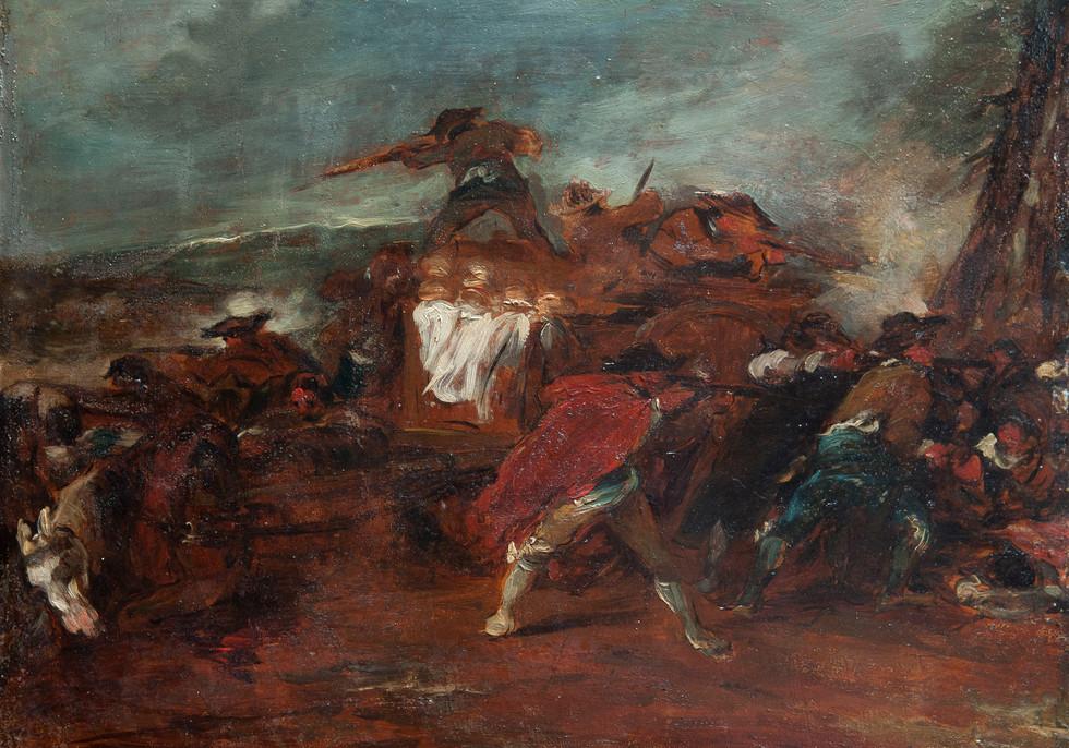 """FRANCISCO GOYA Y LUCIENTES (Fuendetodos, 1746 - Burdeos, 1828)(Atribuido) """"Escena de la Guerra de la Indepencia """" 1810-1812. Óleo sobre hojalata. 31x42 cms"""