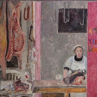"""""""Puesto de la carne"""" 1996. Óleo sobre lienzo 200x200 cms."""