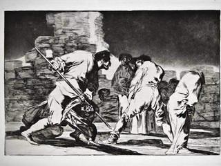 """""""Disparate cruel"""". Serie Los Disparates. 1815 - 1823. Primera edición (1864) Aguafuerte. y aguatinta. Huella 21x32 cms."""