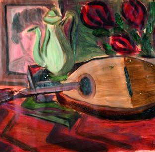 "Ginés Parra (Zurgena, Almería, 1896 – París 1960) ""Bodegón de la mandolina"". C. 1925. Óleo sobre papel. 21x28 cms."