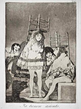 """""""Ya tienen asiento"""" Grabado 26 de la serie Los Caprichos 1799. Décima edición (1918) Aguafuerte y aguatinta 22 x 15,3 cms. (huella)"""