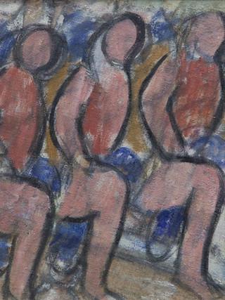 "Ginés Parra (Zurgena, Almería, 1896 – París 1960) ""Figuras repetidas"". C. 1940. Óleo sobre lienzo, 32x47 cms."