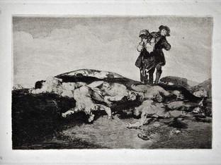 """""""Enterrar y callar"""". Grabado 18 de la serie Los desastres de la guerra 1810 - 1815. Primera edición (1863) Aguafuerte. Huella 15x20 cms."""