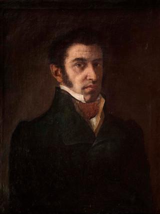 """ANÓNIMO ROMÁNTICO (Primer tercio siglo XIX) """"Retrato de hombre"""" (Hacia 1820). Óleo sobre lienzo, 65x50 cms."""