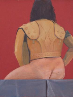 """YEZID VERGARA (Maicao, 1954) """"Desnudo con torera"""" (2012) Óleo sobre lienzo, 35x30 cms."""