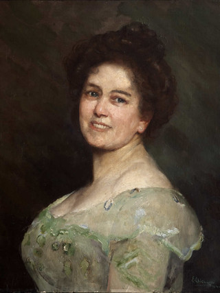 "EDUARDO CHICHARRO AGÜERA (Madrid, 1873 – 1949) ""Retrato de mujer"" Óleo sobre tela. 1944. 60 x 50 cms."