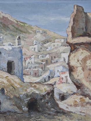 """Miguel Cantón Checa (Almería, 1928-2004) """"La Chanca"""". C. 1950. Óleo sobre lienzo. 55 x 74 cms. Depósito de la Ciudad Autónoma de Melilla."""