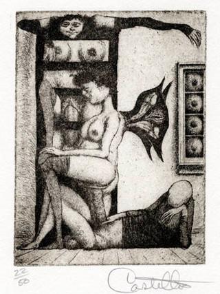 """""""Alfabeto Erótico. Letra E"""" 1969-1971. Aguafuerte y aguatinta 11 x 9 cm (huella)"""