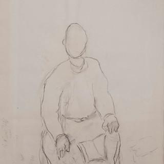 """""""Apunte para retrato de fraile"""" 1983. Carbón sobre papel 100x70 cms."""