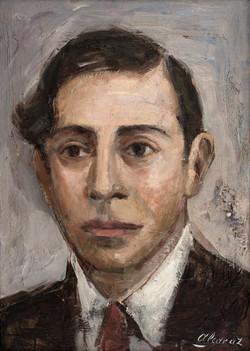 ALCARAZ Retrato de Villaespesa 1985 oleo-tabla