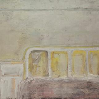"""""""Cama de hospital"""" 1994. Óleo sobre lienzo 75x100 cms."""