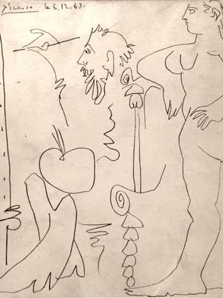 """Pablo Ruiz Picasso (Málaga, 1881 – Mougins, 1963) """"El pintor y la modelo"""" 1963. Litografía, 20x20 cms."""